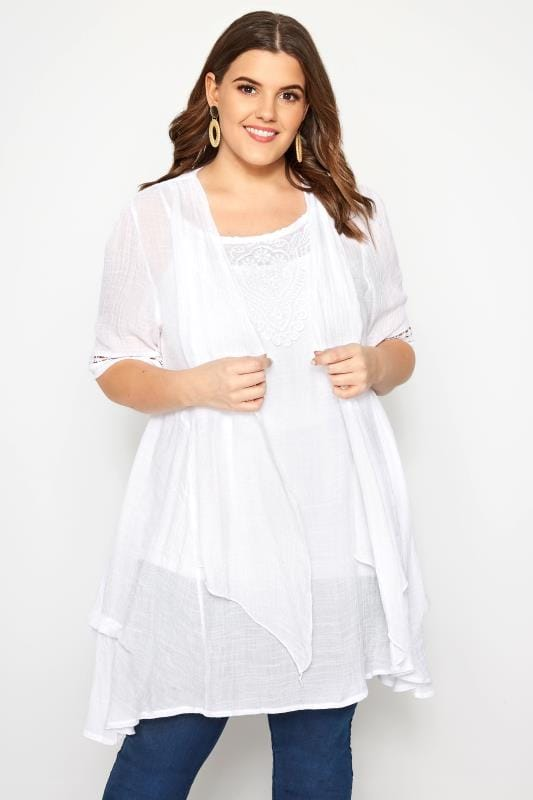 Plus Size Tunics IZABEL CURVE White Waterfall Tunic