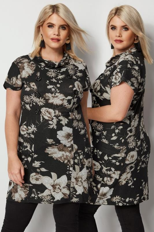 Plus Size Tunic Dresses IZABEL CURVE Black Floral Tunic