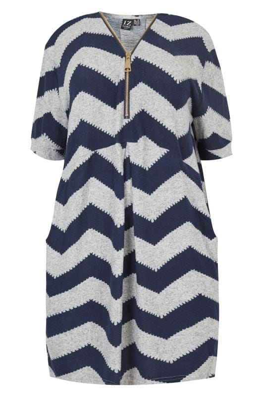 Grande taille  Robes Mi-longues IZABEL CURVE Navy & Grey Knitted Zip Dress