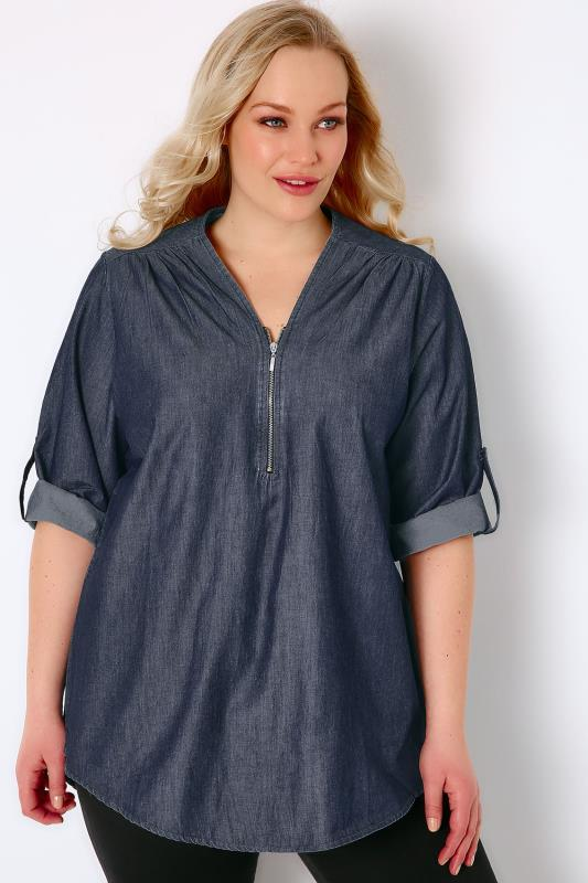 Indigo Blue Denim Blouse With Zip Front
