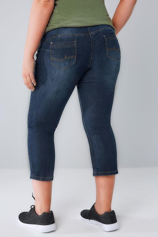 Indigo Blue Denim Cropped SHAPER Jeans