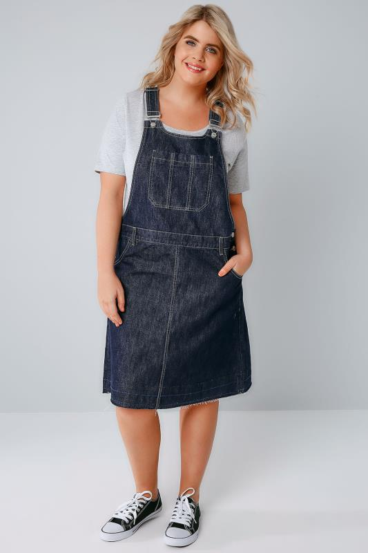 Swing & Shift Dresses Indigo Blue Denim Dungaree Pinafore Dress With Raw Edge Hem 136061