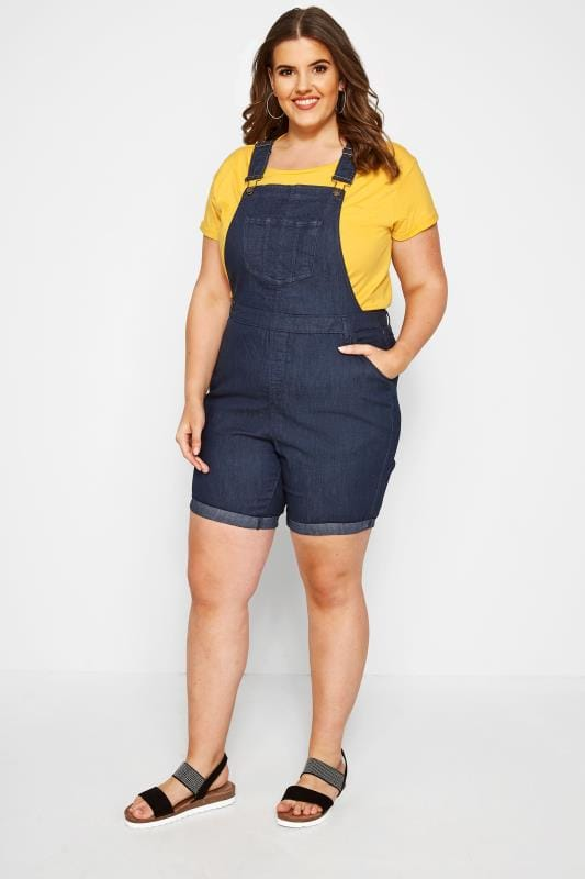 Indigo Blue Denim Dungaree Shorts