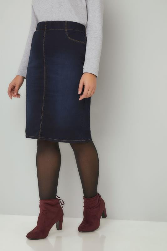 Pencil Skirts Indigo Blue Denim Pencil Skirt 160057