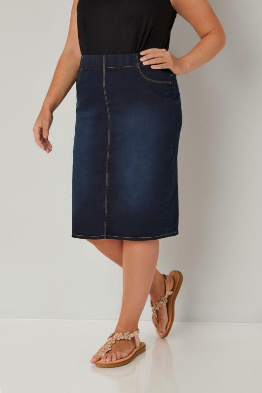Jupes Crayons  Grande Taille Indigo Blue Denim Pencil Skirt