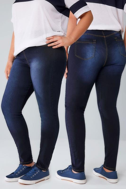 Shaper Jeans Indigo Blue Pull On Stretch SHAPER Jeggings 055456