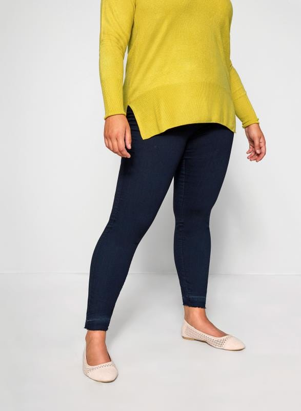 Plus Size Jeggings Indigo Blue JENNY Jeggings With Raw Hem
