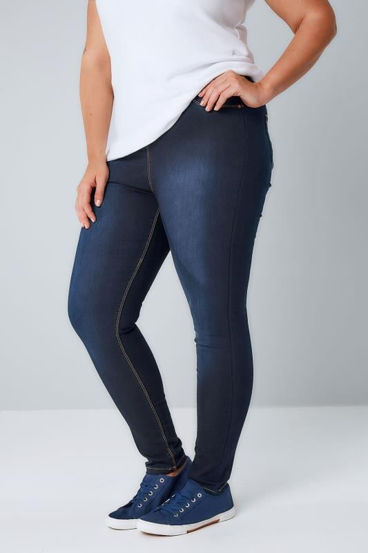 Plus Size Jeggings Indigo Blue Pull On Super Stretch JENNY Jeggings