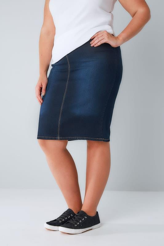 Plus Size Denim Skirts Indigo Denim Pull On Midi Pencil Skirt
