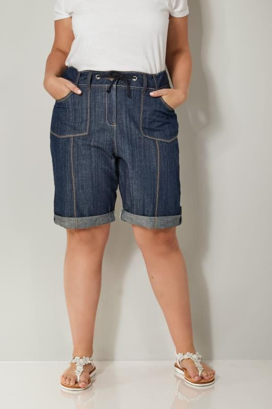 Plus Size Denim Shorts Indigo Denim Roll-Up Utility Shorts With Ribbed Elasticated Waistband