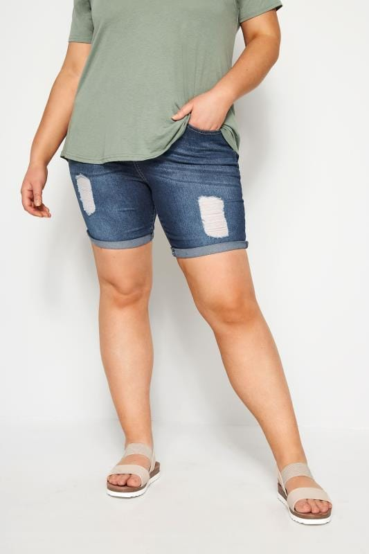Plus Size Denim Shorts Indigo Distressed Denim Shorts