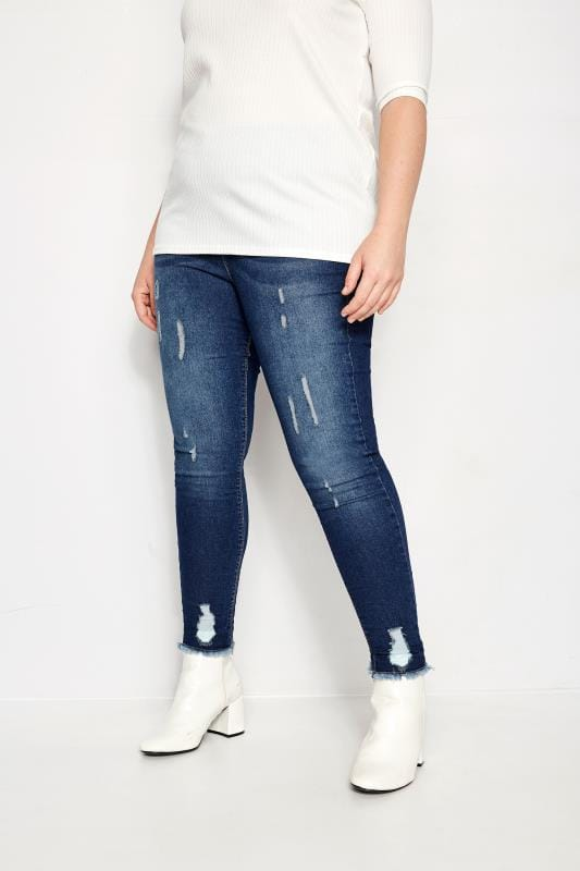 Plus Size Jeggings Indigo Distressed JENNY Jeggings