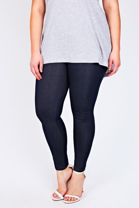 Indigo Jersey Jeggings With Denim Look Stitch Detailing