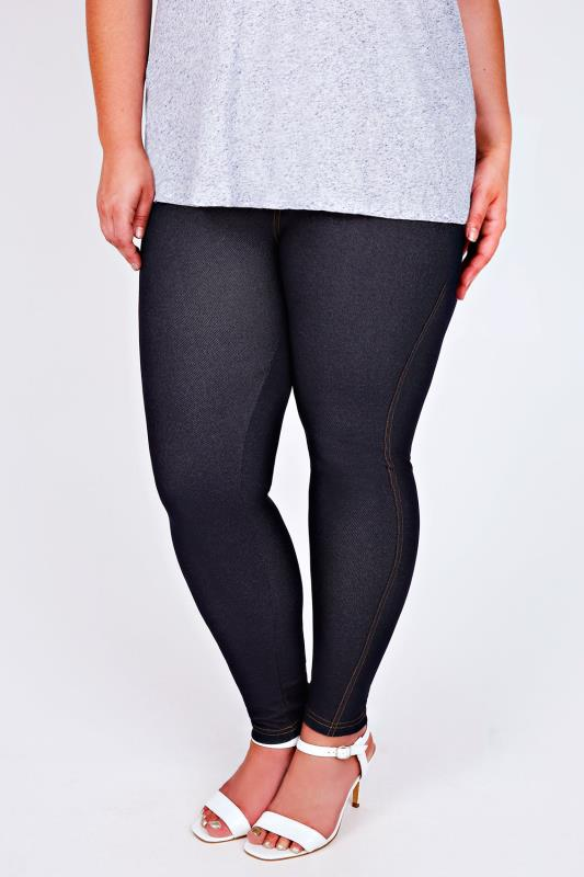 Indigo Jersey Jeggings With Gold Stitch Detail