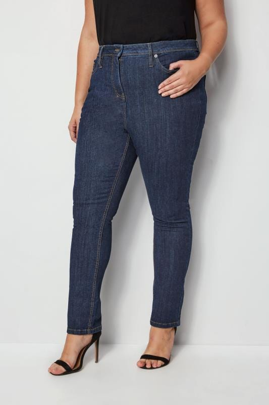 Plus Size Luxe Control Jeans Indigo 'Luxe Control' Slim Leg Jeans