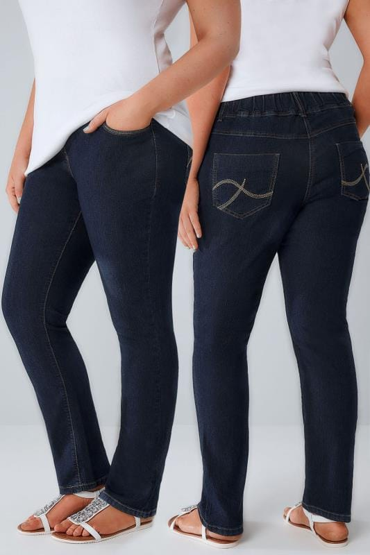 Indigo Pull On Straight Leg Jeans