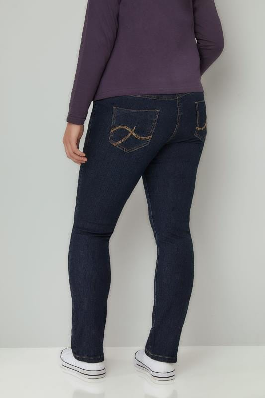 Indigo Pull On Straight Leg Ruby Jeans Plus Size 14 To 28