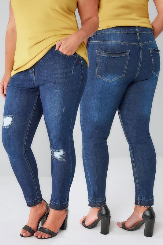Skinny Jeans Indigo Rip & Repair Skinny AVA Jeans With Raw Cuffs 142020