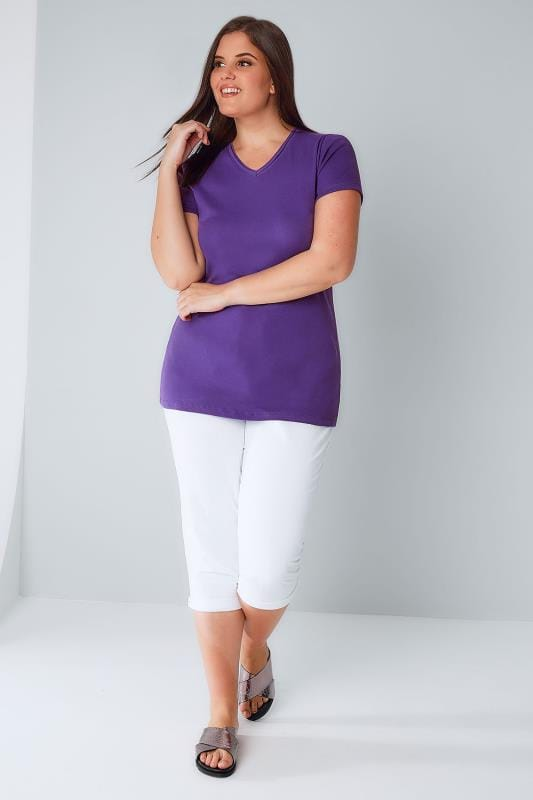 Indigo Short Sleeved V-Neck Basic T-Shirt