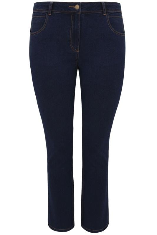 Indigo Blue Straight Leg Ruby Jeans Plus Size 14 To 36