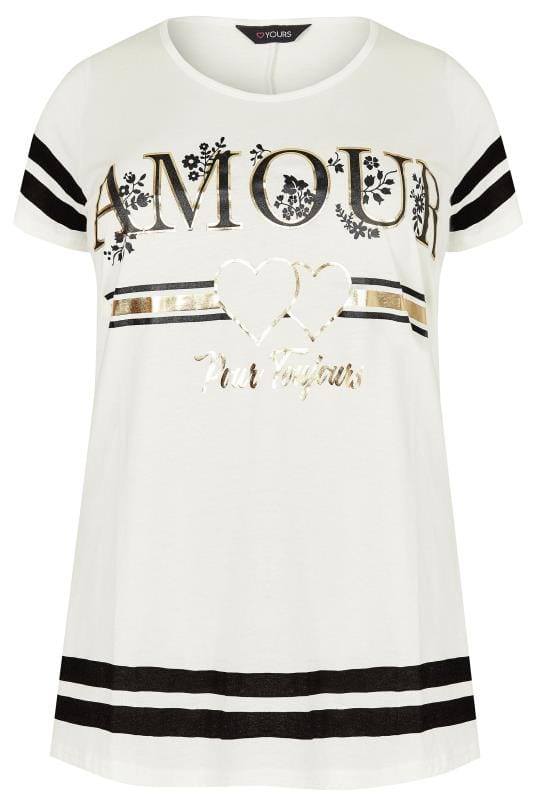 Ivory 39 Amour 39 Varsity Print T Shirt Plus Size 16 To 36