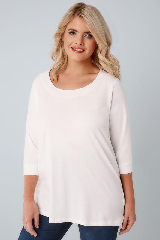 Ivory Band Scoop Neckline T-Shirt With 3/4 Sleeves