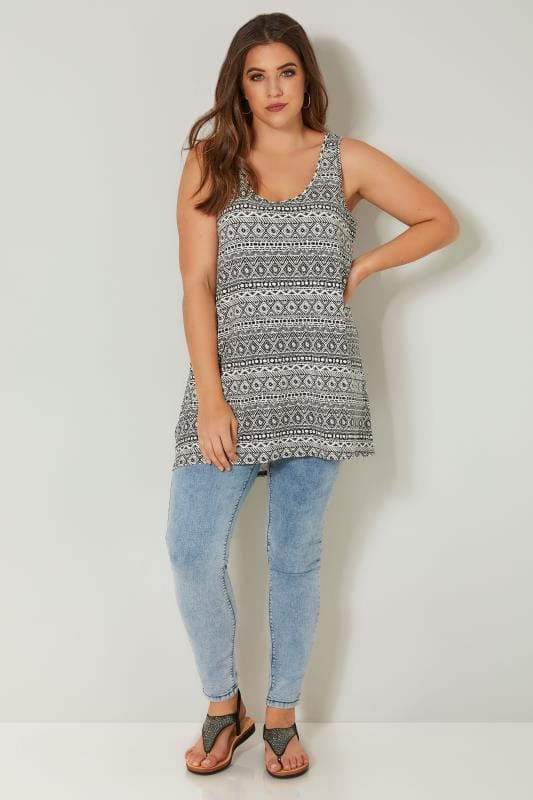Ivory & Black Aztec Print Vest Top With Rear Cross Over Straps