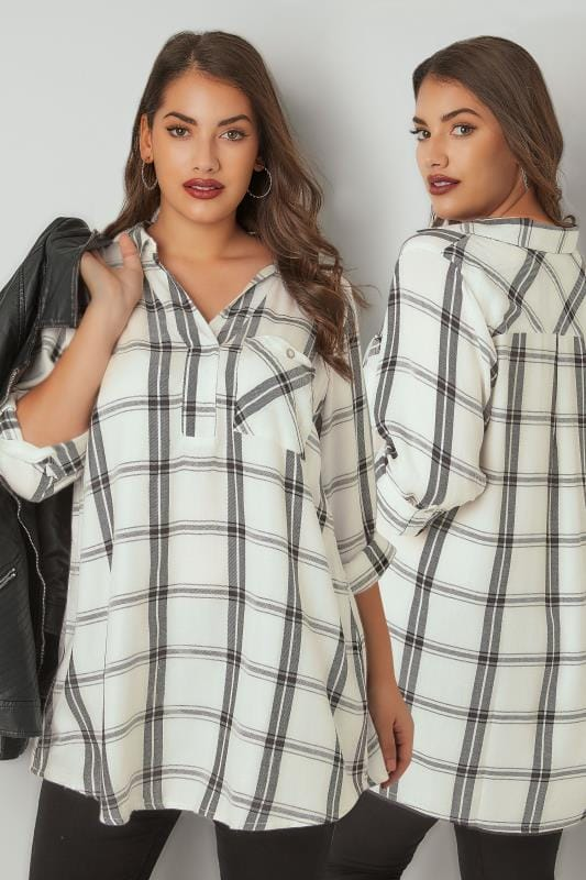 Plus Size Blouses & Shirts Ivory & Black Oversized Wide Checked Shirt With V-Neck