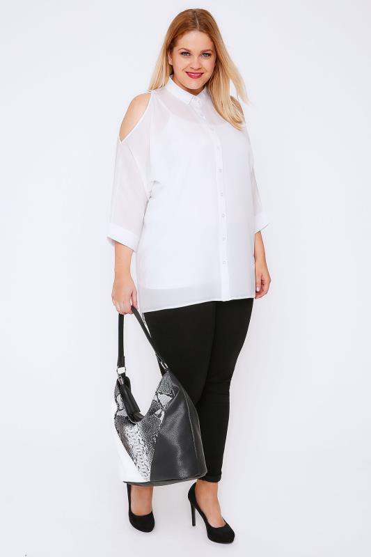 Ivory Shirt With Cold Shoulder & Dipped Hem