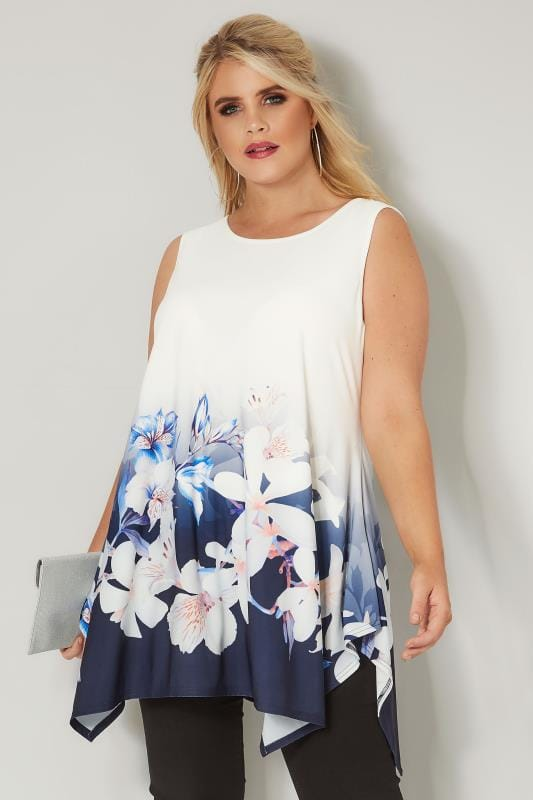 Plus Size Day Tops Ivory & Blue Floral Cross Back Swing Top