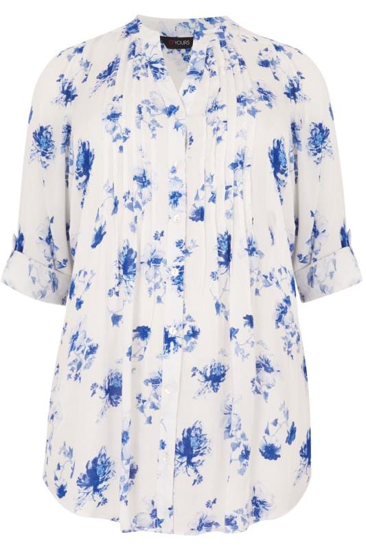 Ivory & Blue Floral Pintuck Longline Blouse With Sequin Detail