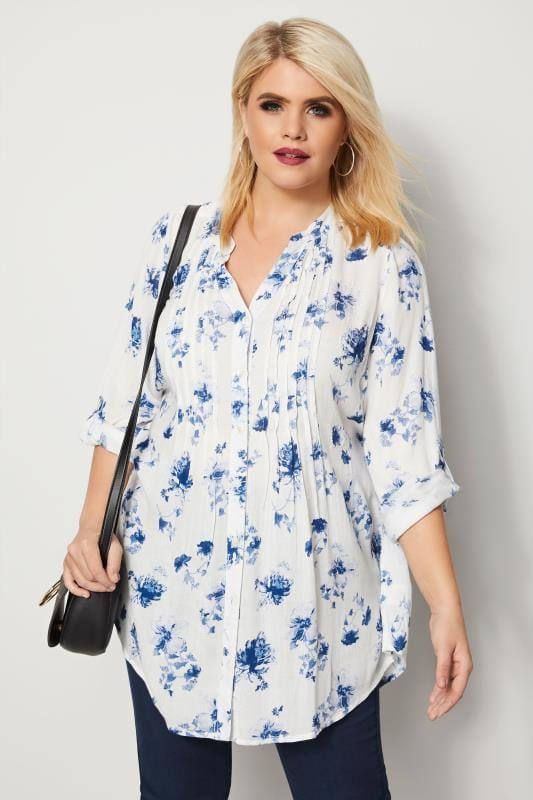 Plus Size Blouses & Shirts Ivory & Blue Floral Pintuck Longline Blouse With Sequin Detail