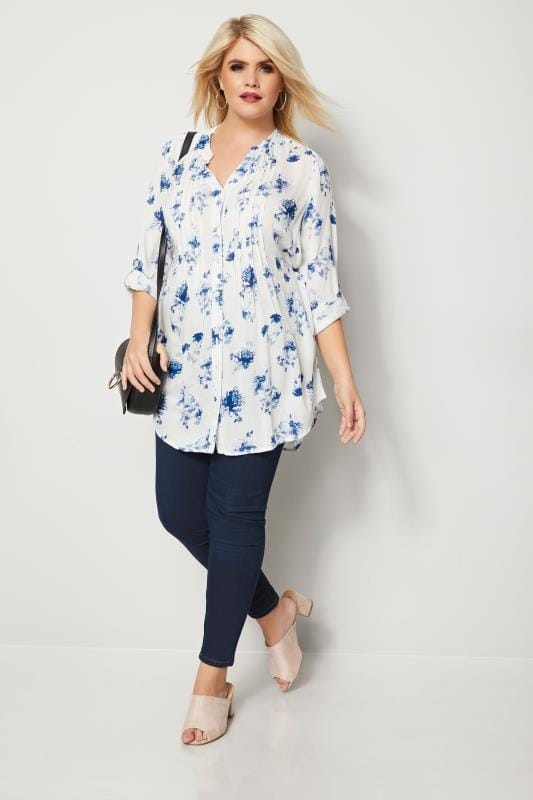 Ivory & Blue Floral Pintuck Longline Blouse