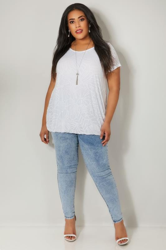 Ivory Burnout Detail Double Layer Top With Bubble Hem