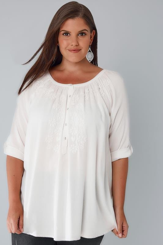 Plus Size Blouses & Shirts Ivory Button Up Gypsy Blouse With Embroidery Detail
