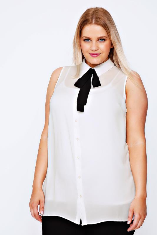 Ivory Chiffon Sleeveless Shirt With Black Neck Tie