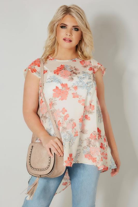 Ivory & Coral Floral Chiffon Top
