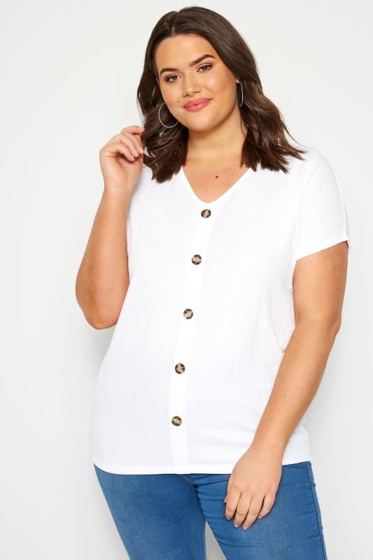 Plus Size Day Tops BEST SELLER Ivory Crinkle Jersey Top