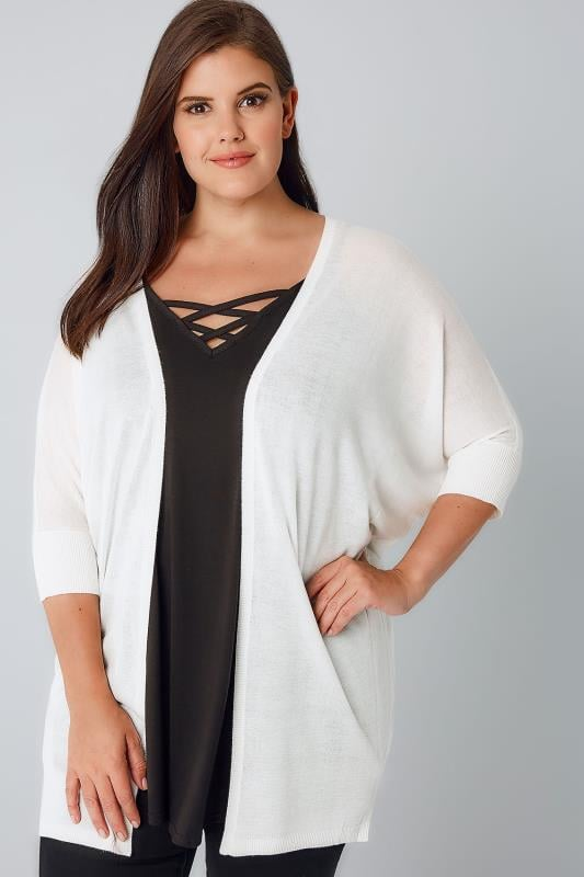 Plus Size Cardigans Ivory Fine Knit Cocoon Cardigan With Short Grown On Sleeves