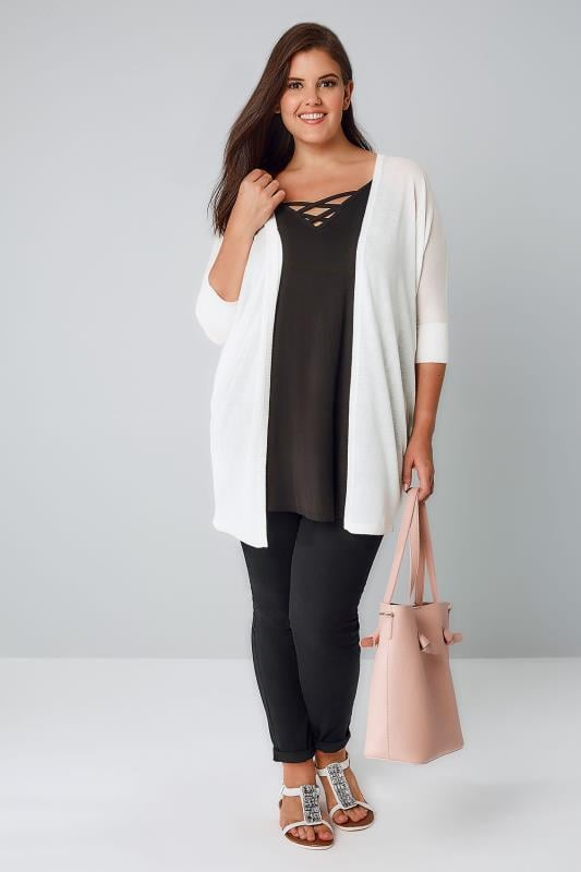 Ivory Fine Knit Cocoon Cardigan With Short Grown On Sleeves, Plus ...