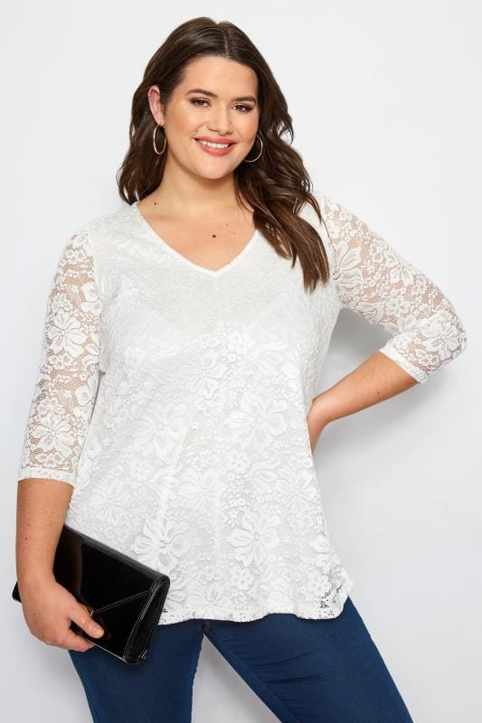 Plus Size Smart Jersey Tops Ivory Floral Lace Top