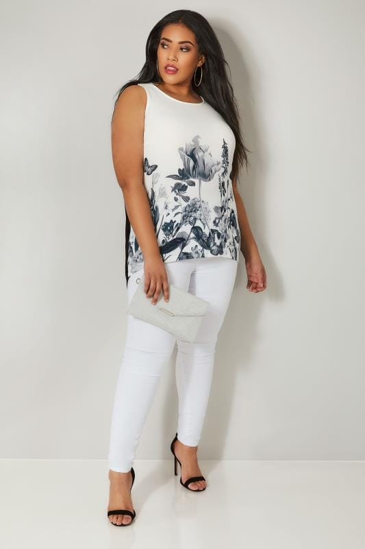 Plus Size Longline Tops Ivory Floral Sleeveless Top With Studs