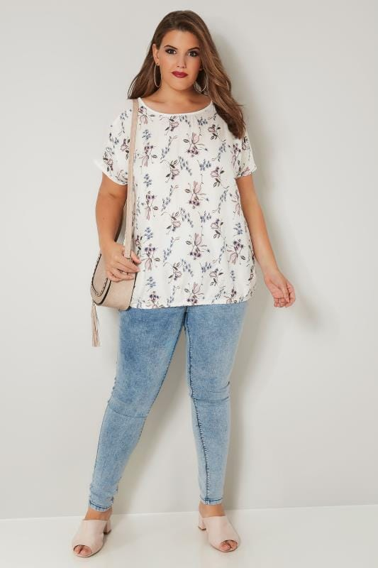 Ivory Floral Woven Bubble Top
