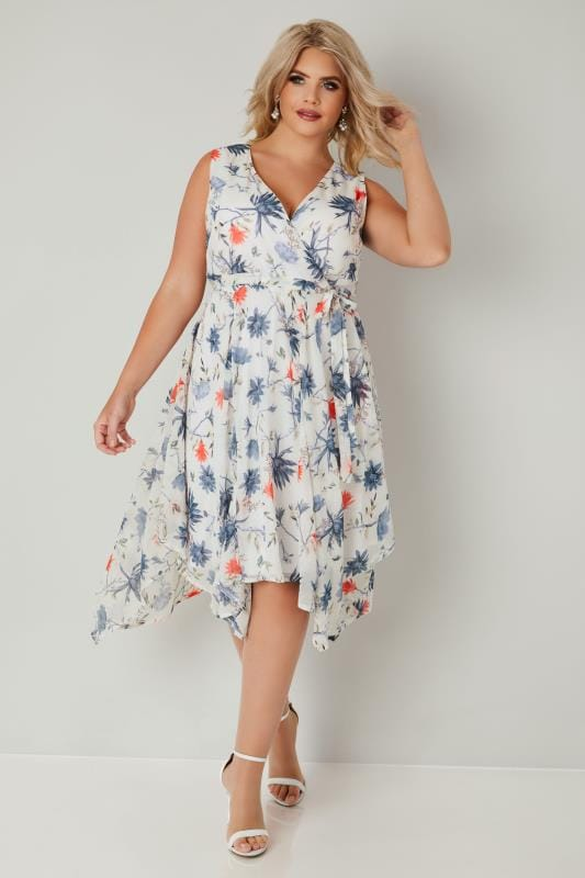 Ivory Floral Wrap Dress With Hanky Hem