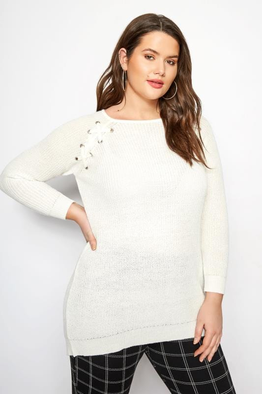 Ivory Knitted Lace Up Jumper