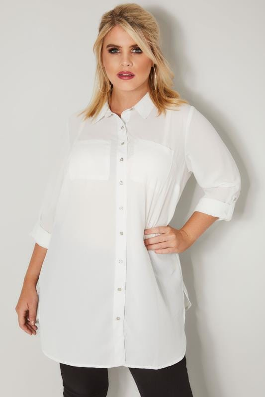 Plus Size Shirts Ivory Chiffon Shirt