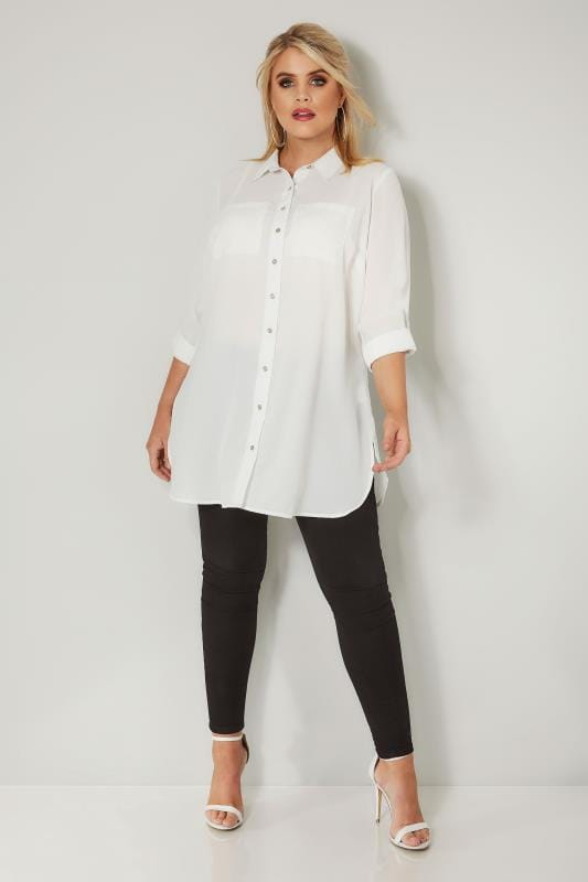 Ivory Longline Double Pocket Shirt