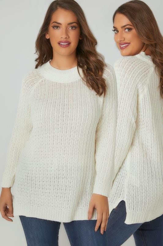 Ivory Longline Jumper With Cable Knit Trim