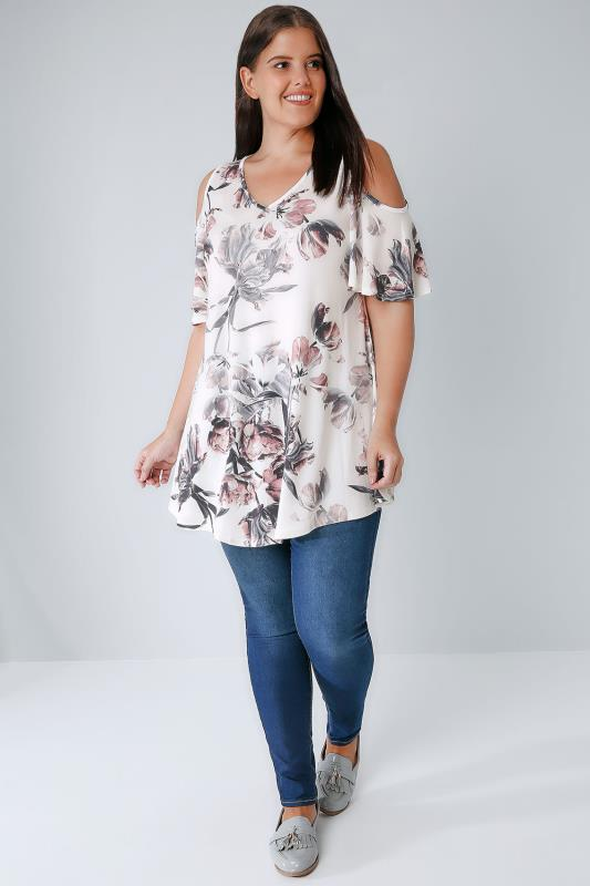 Ivory  Multi Cold Shoulder Floral Swing Top, Plus Size 16 -8548