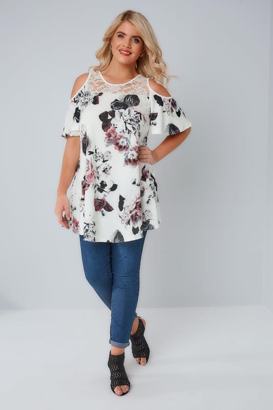 Ivory & Multi Floral Print Cold Shoulder Longline Jersey Top With Lace Panel